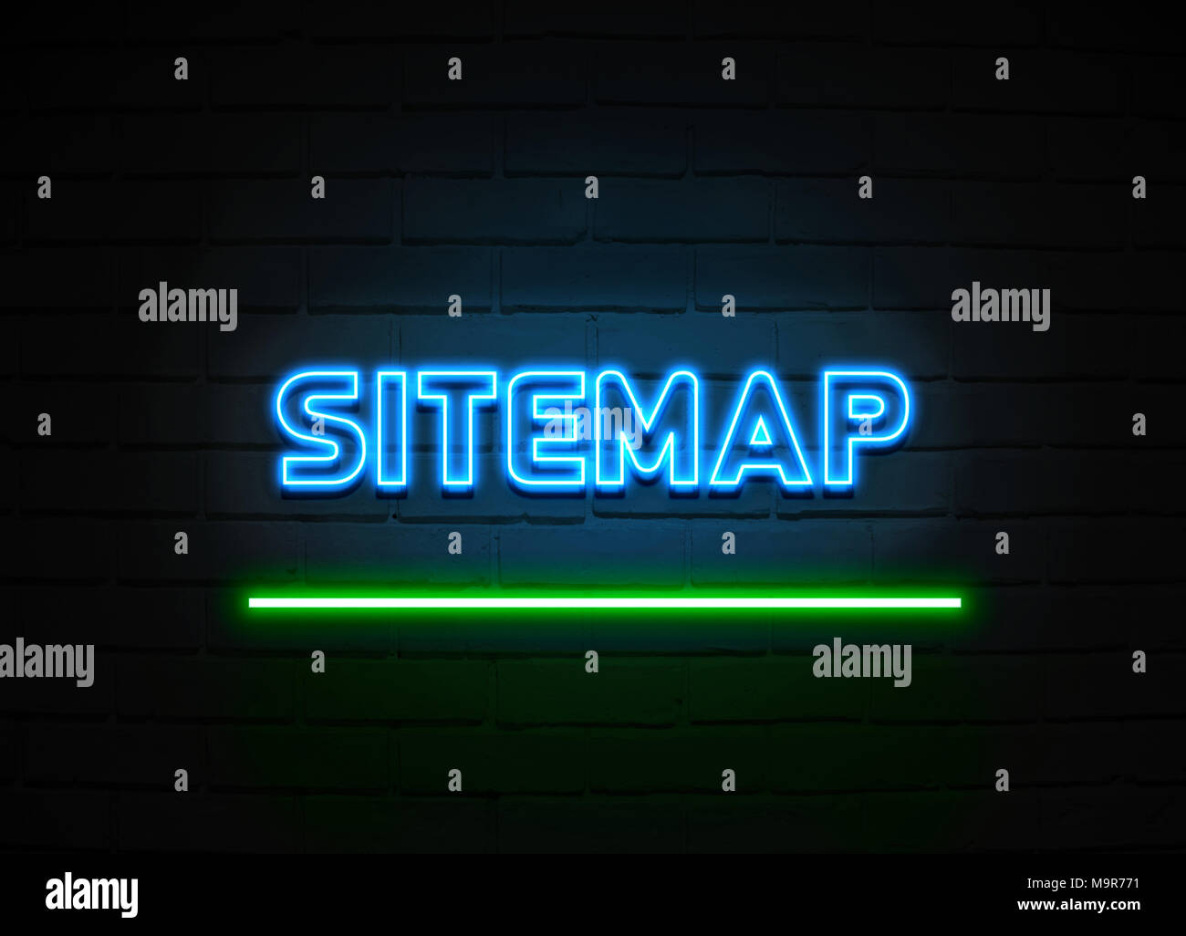 Sitemap neon sign - Glowing Neon Sign on brickwall wall - 3D rendered royalty free stock illustration. Stock Photo
