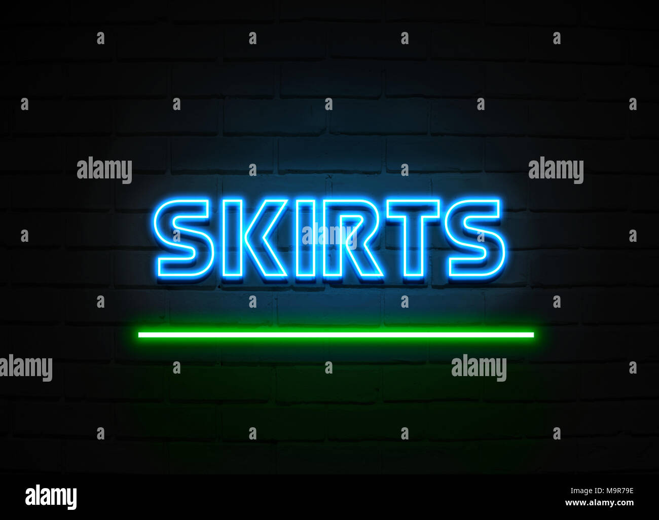 Skirts neon sign - Glowing Neon Sign on brickwall wall - 3D rendered royalty free stock illustration. - Stock Image