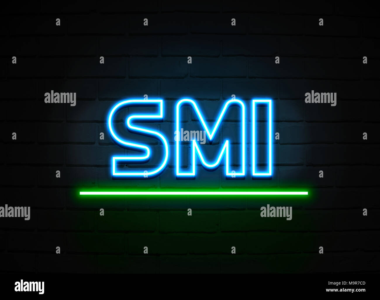 Smi neon sign - Glowing Neon Sign on brickwall wall - 3D rendered royalty free stock illustration. - Stock Image