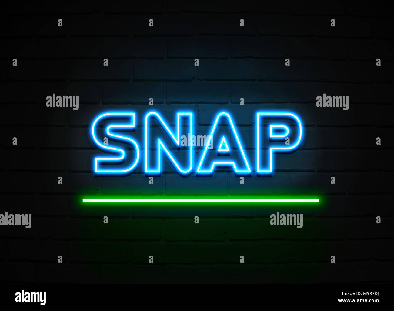 Snap Neon Sign Glowing Neon Sign On Brickwall Wall 3d Rendered Royalty Free Stock Illustration Stock Photo Alamy