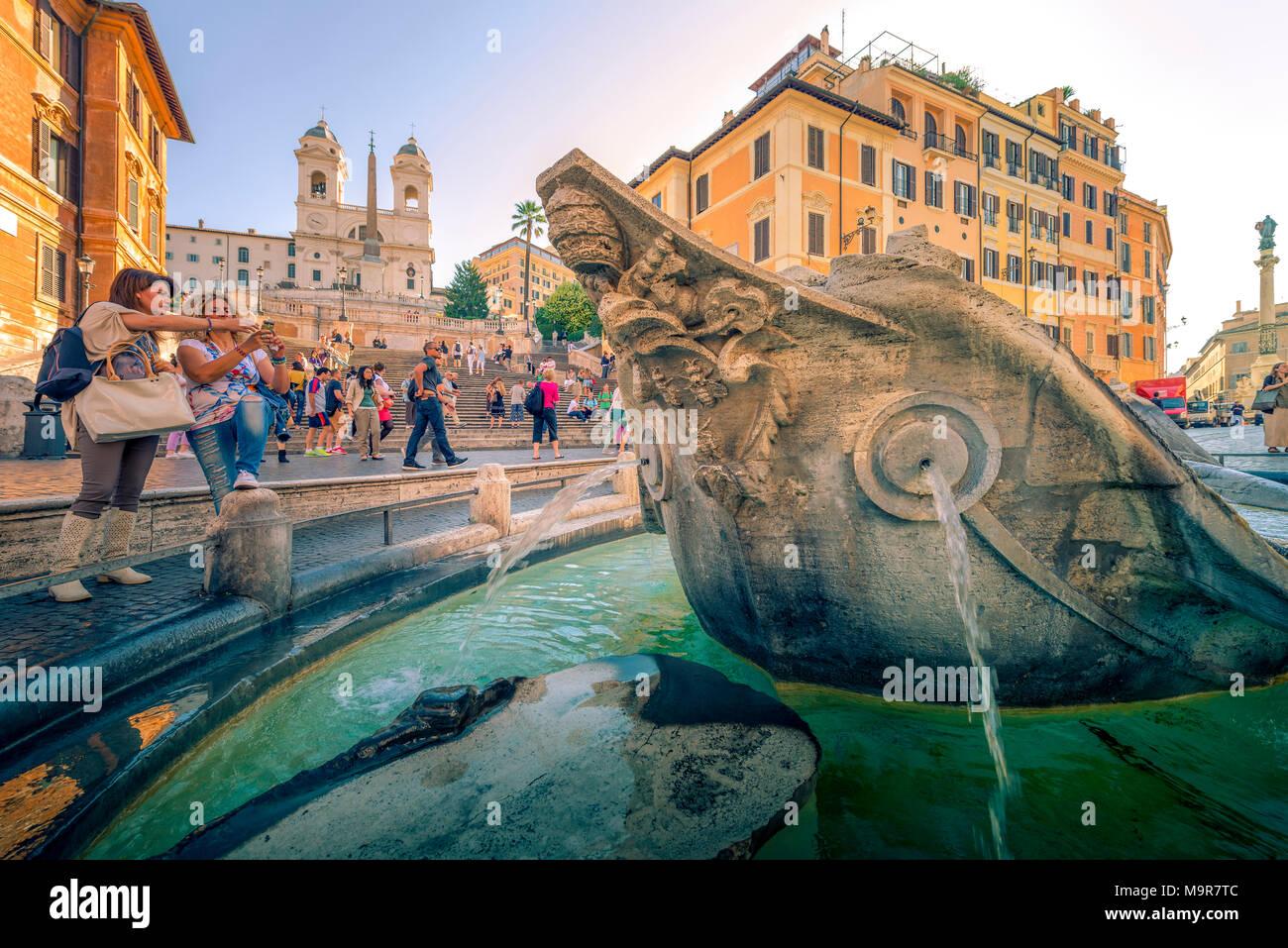 Europa, Italien, Rom, Spanische Treppe, Kirche,Trinita dei Monti - Stock Image