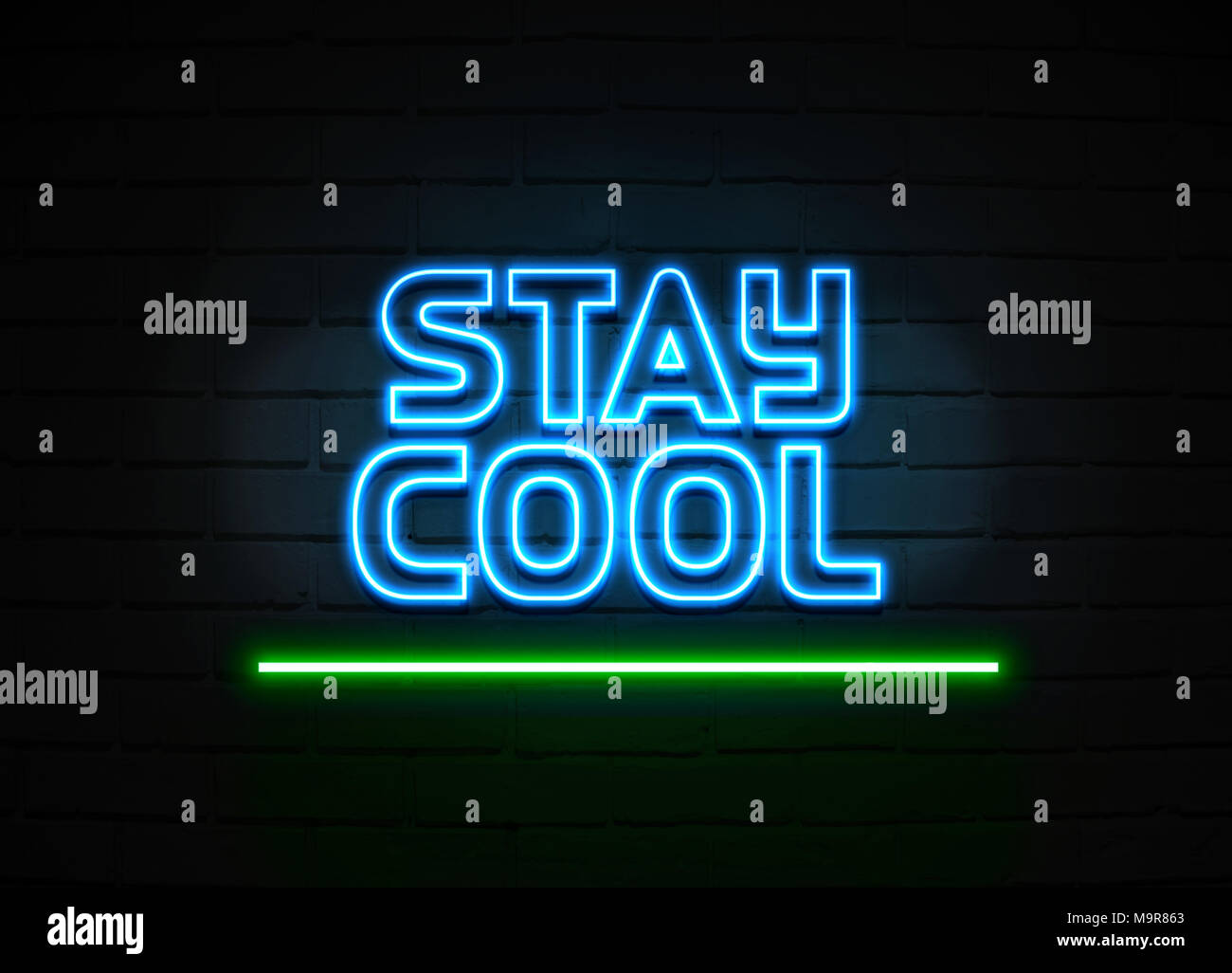 Stay Cool Neon Sign Glowing Neon Sign On Brickwall Wall 3d