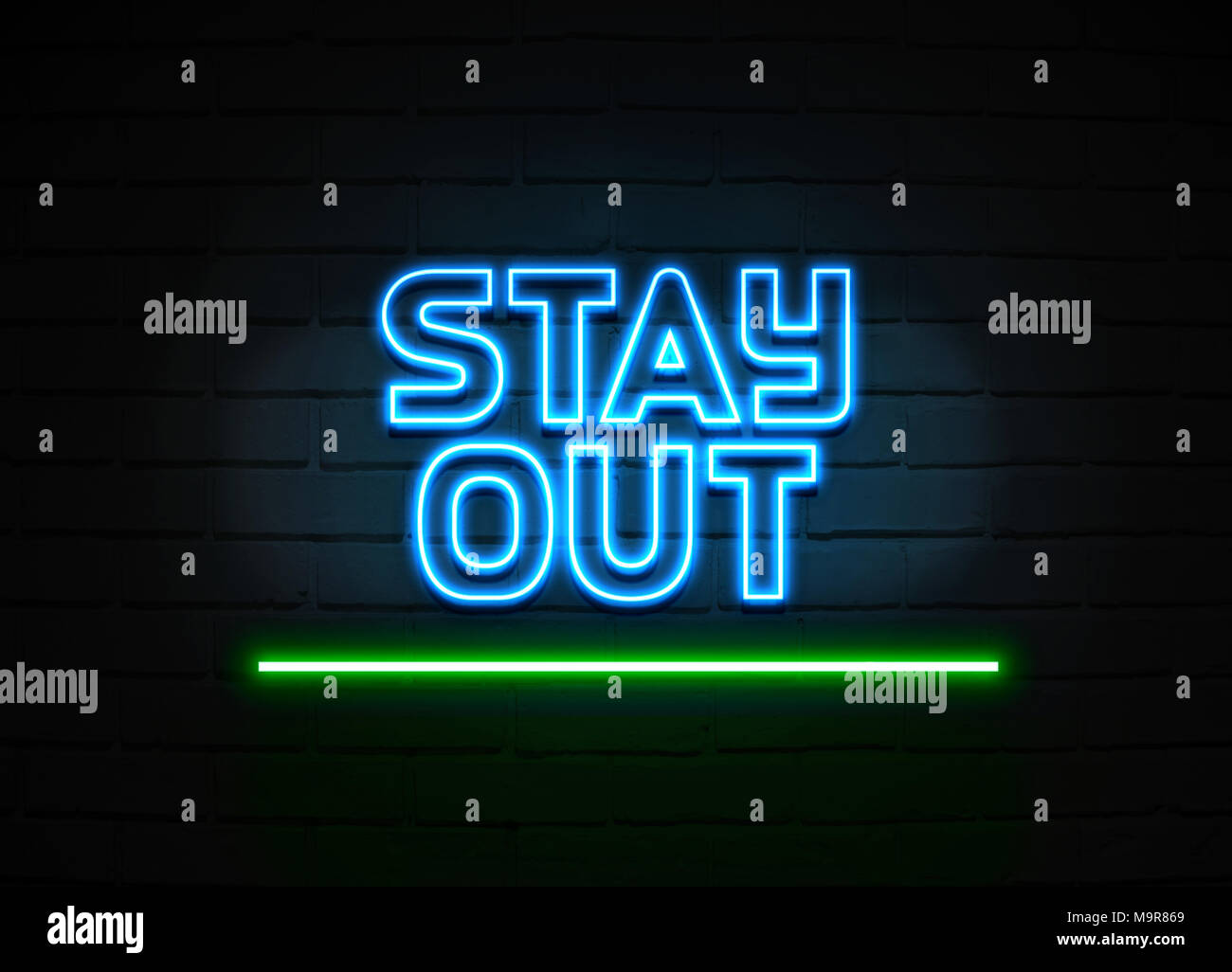 Stay Out neon sign - Glowing Neon Sign on brickwall wall - 3D rendered royalty free stock illustration. - Stock Image