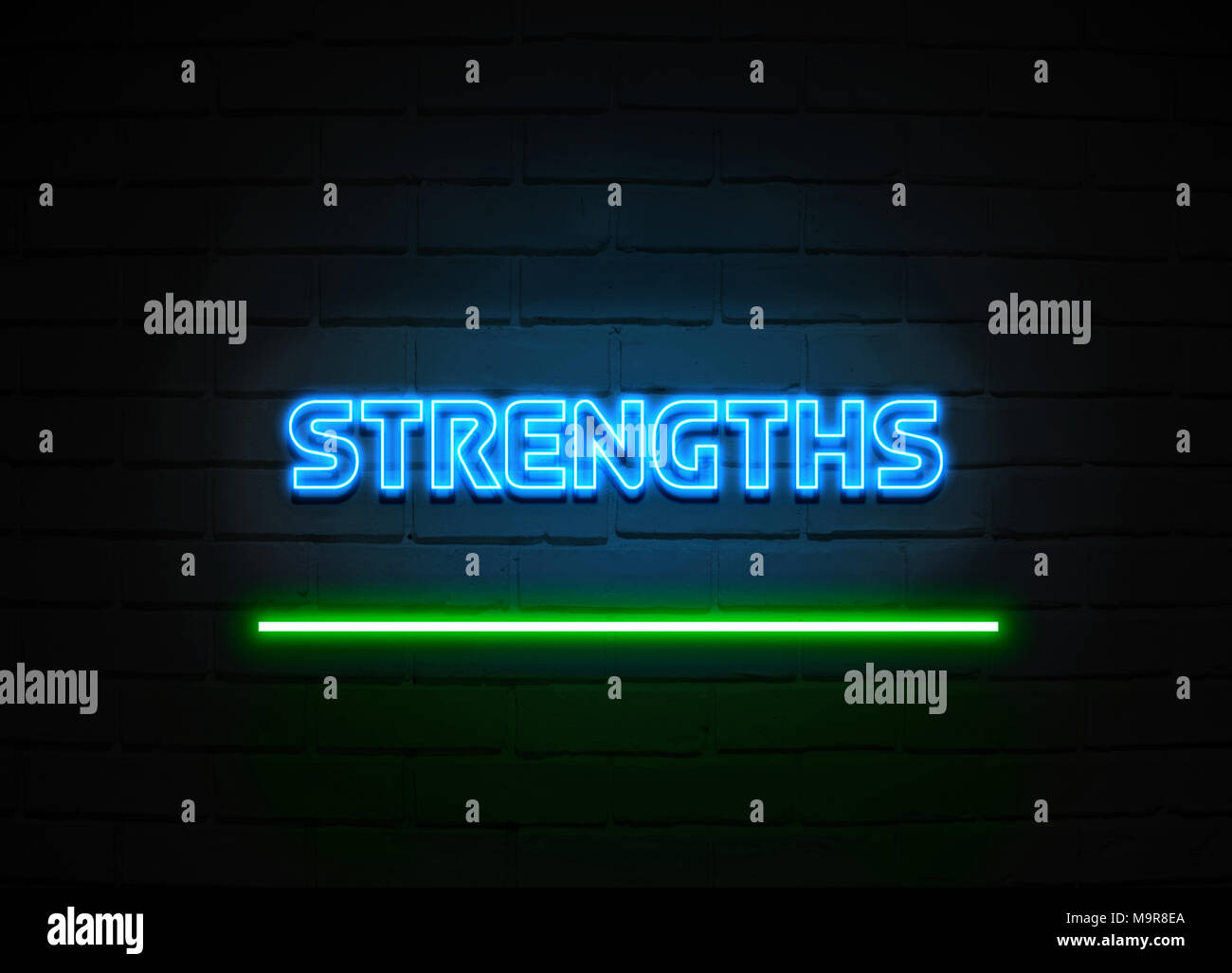 Strengths neon sign - Glowing Neon Sign on brickwall wall - 3D rendered royalty free stock illustration. - Stock Image
