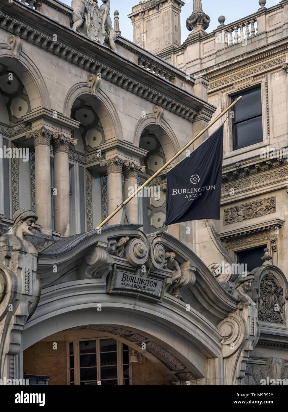 BURLINGTON ARCADE, LONDON:  Banner sign above entrance - Stock Image