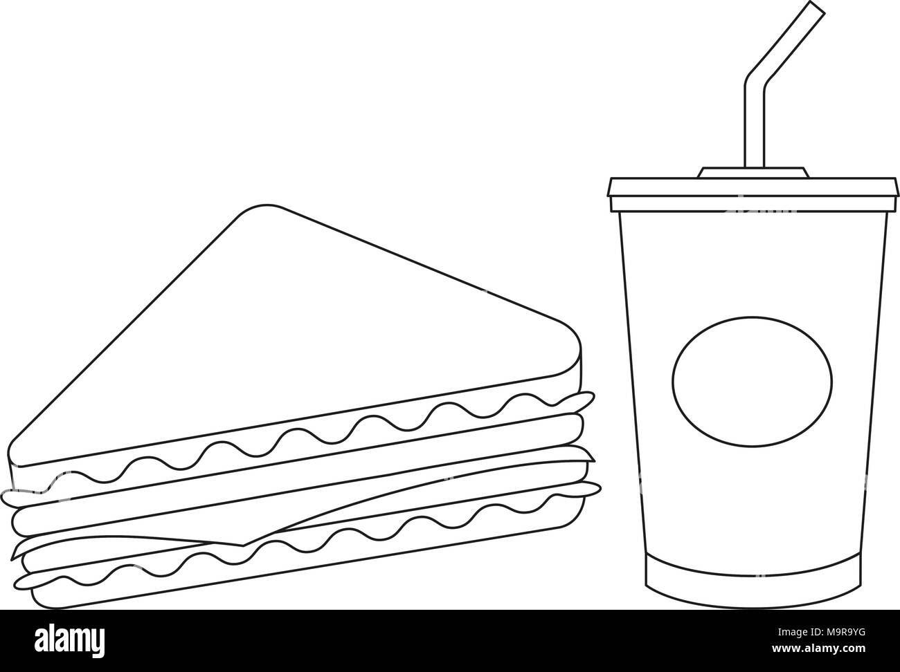 Black and white line art sandwich juise fast food set - Stock Vector