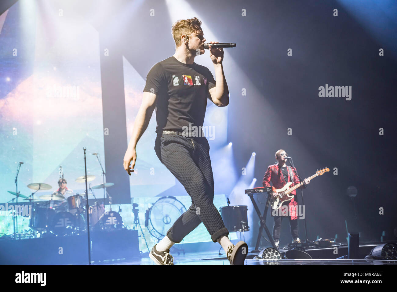 Imagine Dragons perform to an adoring Glasgow crowd at the SSE Hydro, big performance from band and crowd. - Stock Image