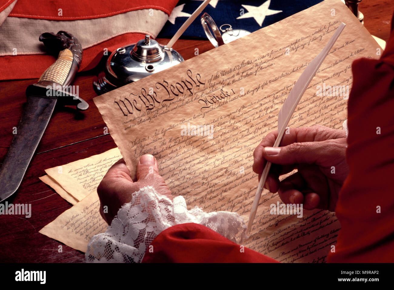 Re-creation of the signing of the Declaration of Independence - Stock Image