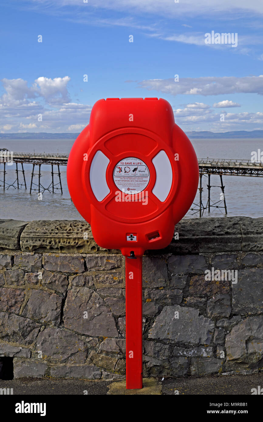 A lifebelt at the derelict Birnbeck Pier in Weston-super-Mare, UK - Stock Image