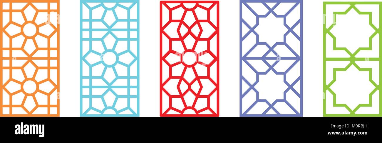 Indian Rectangle Window Frame With Islamic Pattern, Vector Art