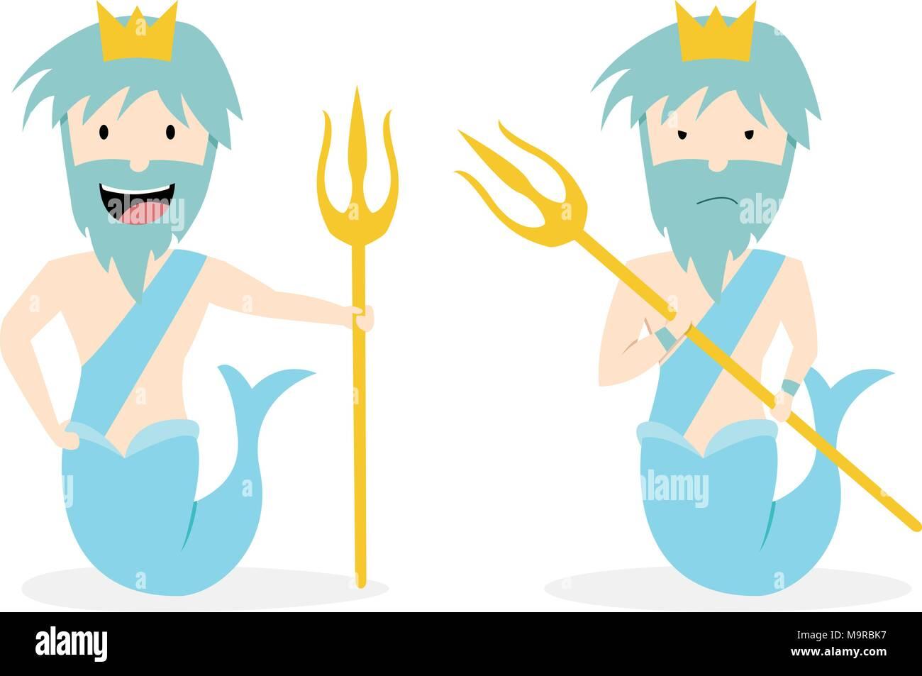 Poseidon god sea god stock photos poseidon god sea god stock poseidon god of the sea in flat vector art design stock image biocorpaavc Image collections