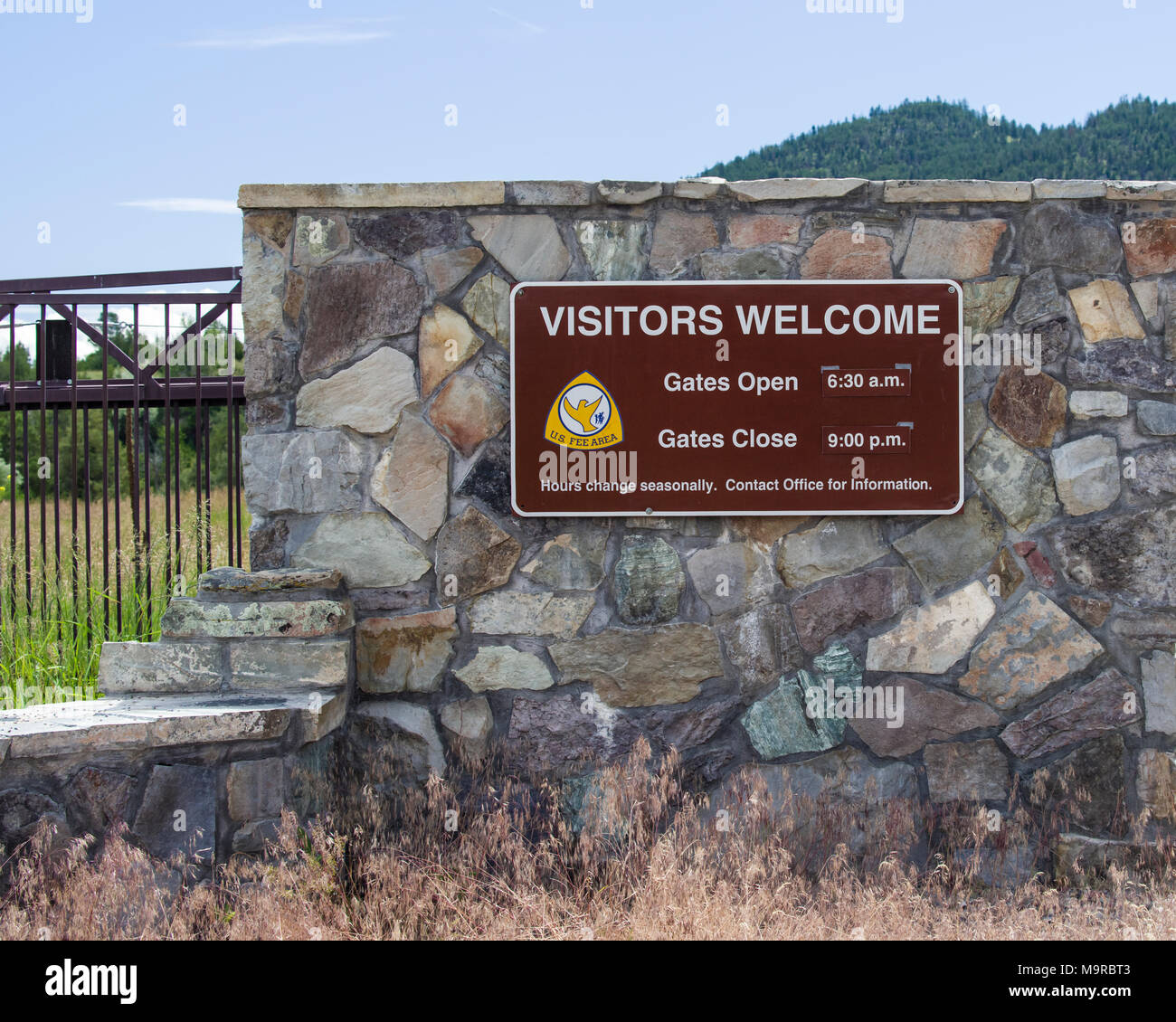 Information signs at the National Bison Range in Montana Stock Photo