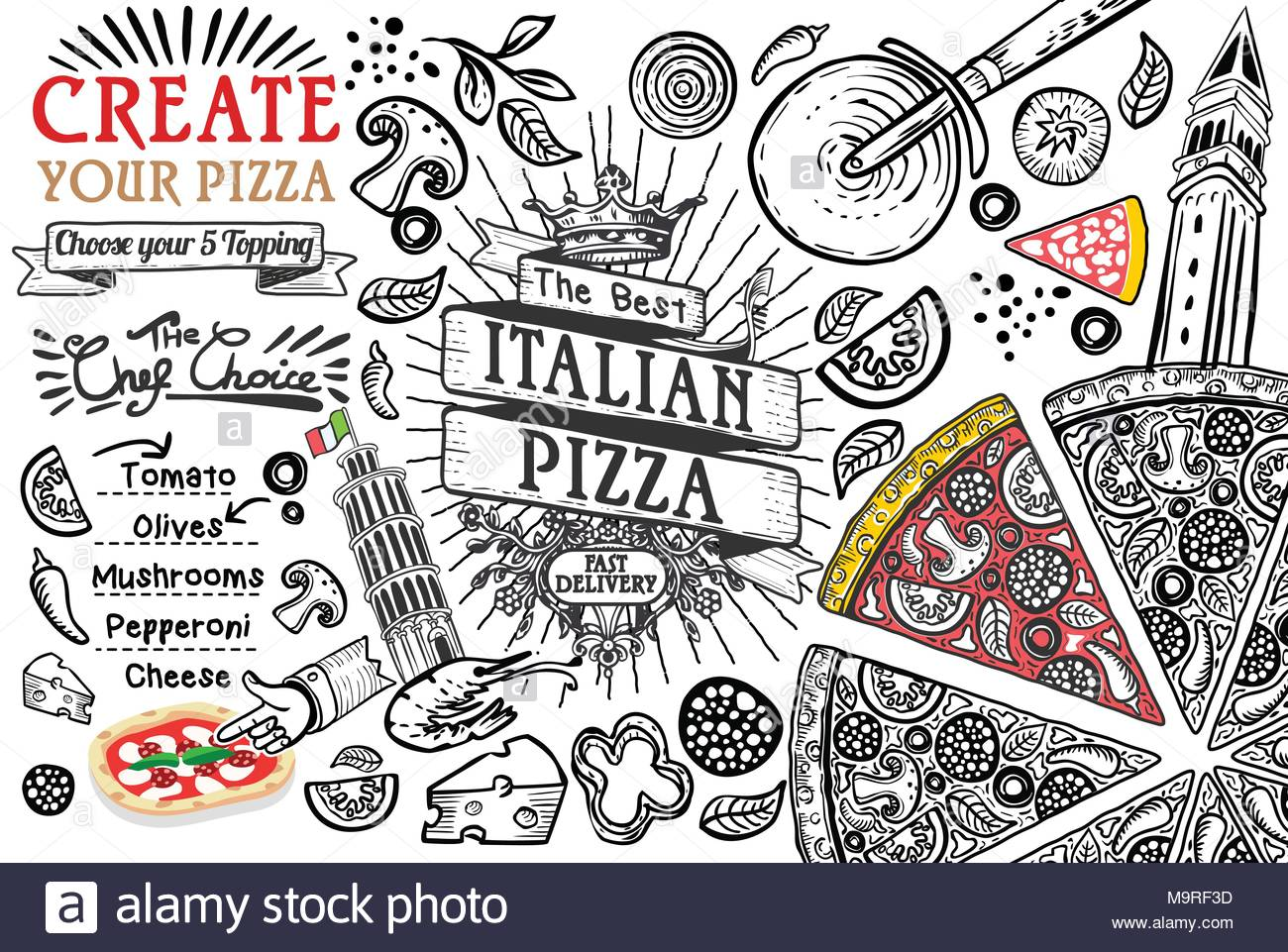 italian food ingredients in top view this is a pizza restaurant