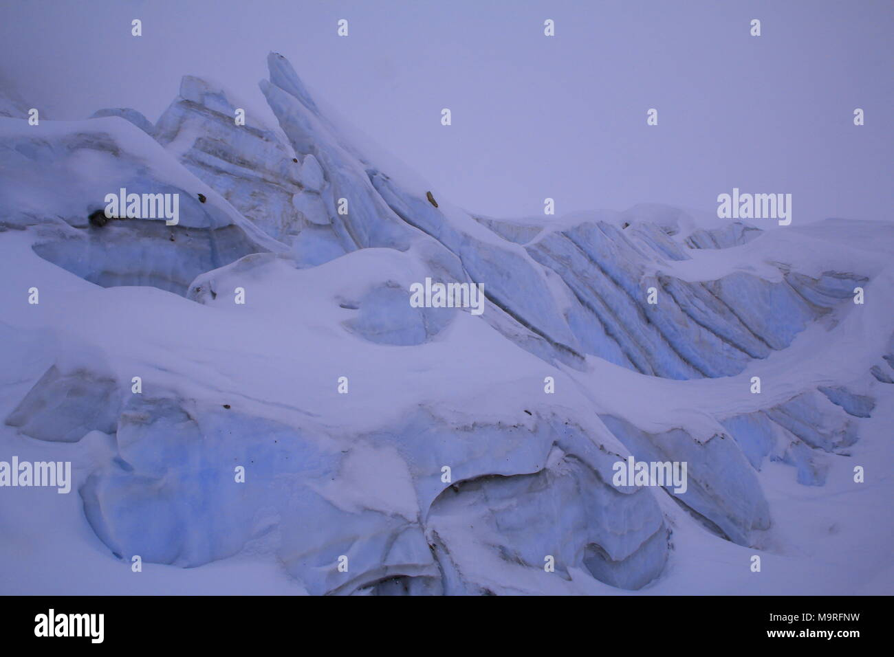 icefall at the glacier - Stock Image
