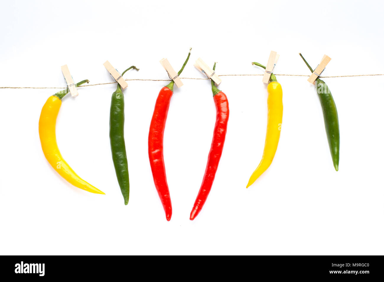 colorful peppers pinned with paperclips, hang, dries, background with colorful paprika - Stock Image