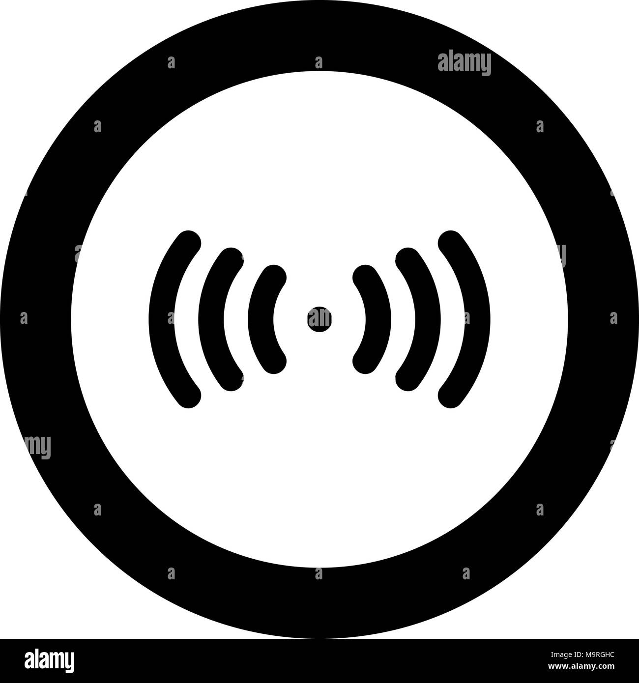 Radio signal the black color icon  in circle or round vector illustration - Stock Image