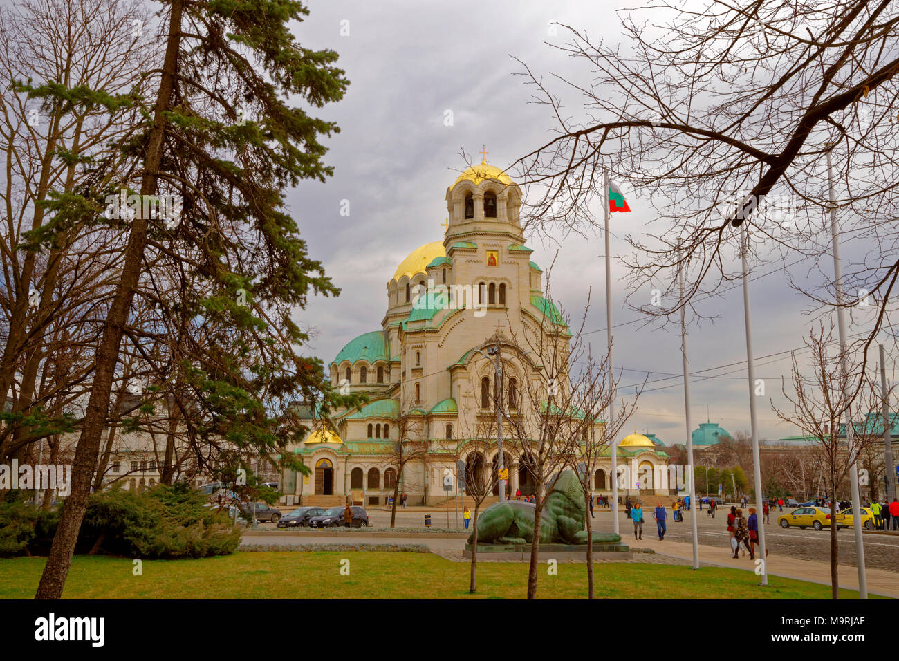 The St. Alexandar Nevski Orthodox Cathedral in Sofia city centre, Bulgaria. - Stock Image