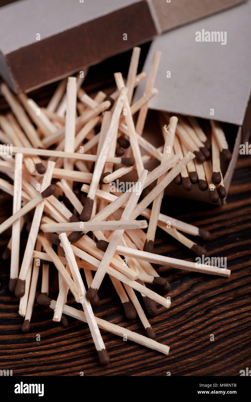 Matches in open match box - Stock Image
