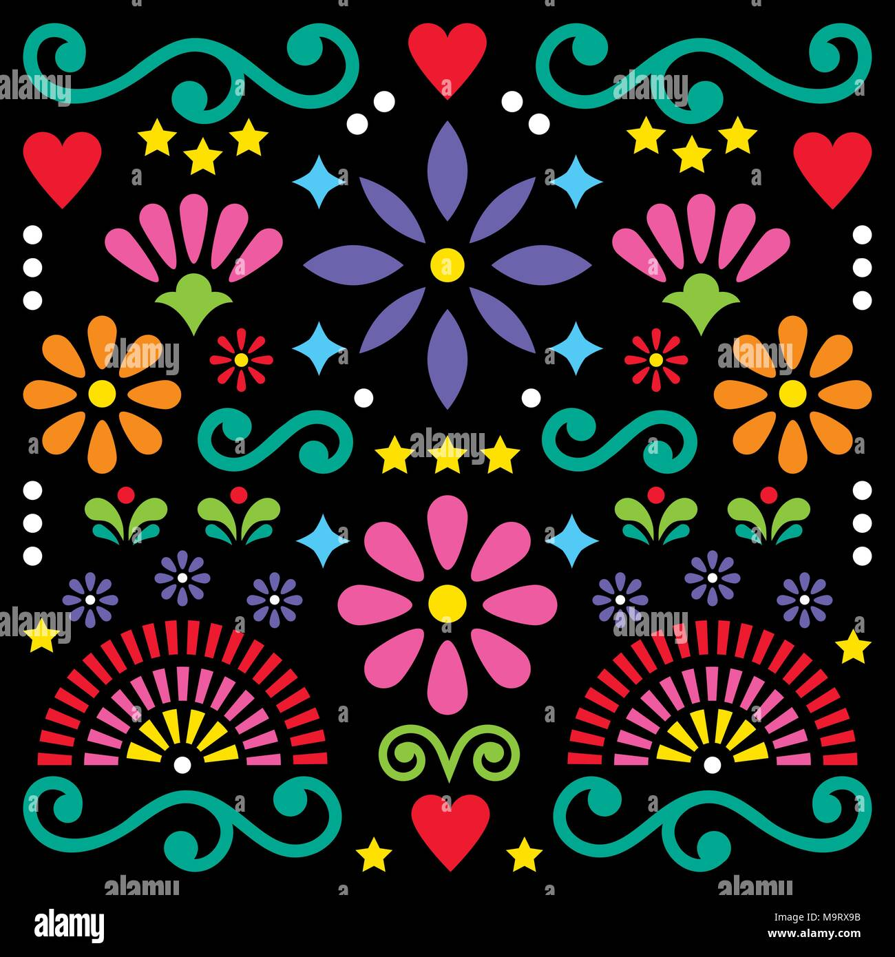 Mexican folk art vector pattern, colorful design with flowers greeting card inspired by traditional designs from Mexico - Stock Image
