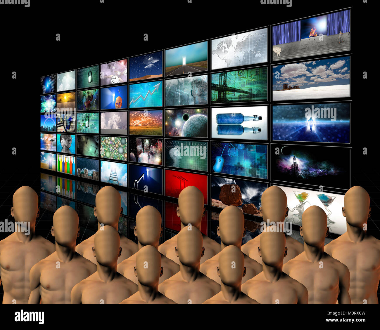 Faceless men before multimedia screens wall - Stock Image