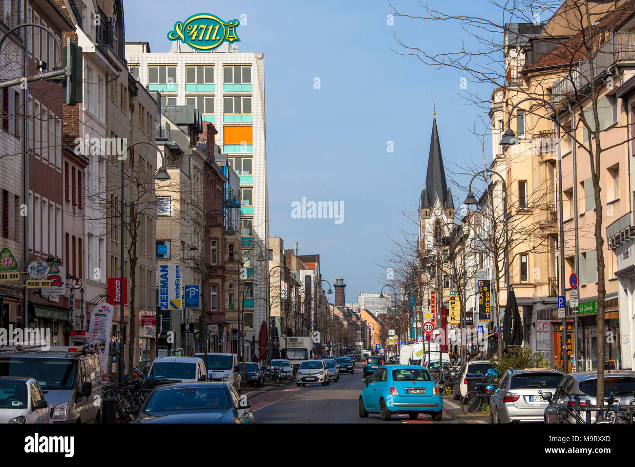 Germany, Cologne, the Venloer street in the district Ehrenfeld, view to the 4711 high-rise ...