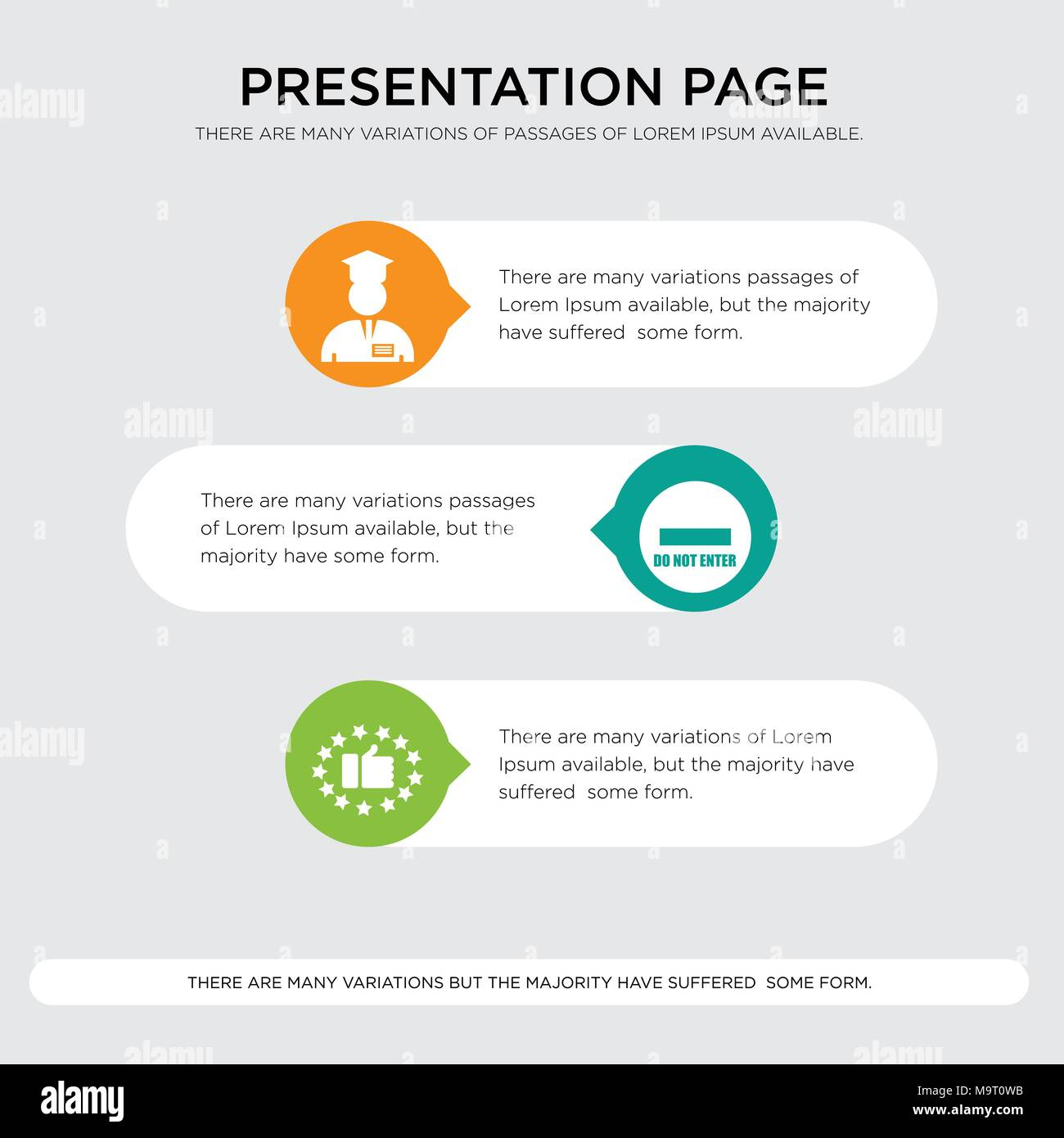 satisfied customer, do not enter, internship presentation design template in orange, green, yellow colors with horizontal and rounded shapes - Stock Image