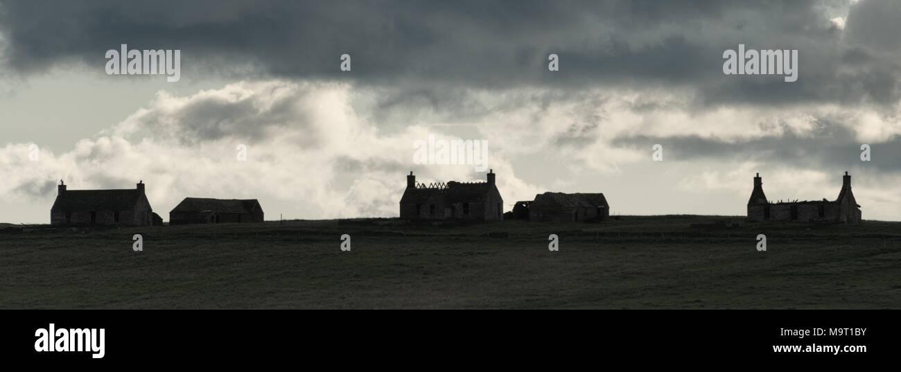 Abandoned Houses on the Isle of Stroma - Stock Image