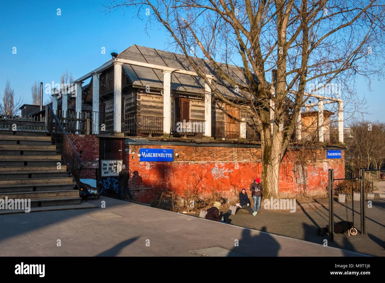 Berlin, Mitte.Märchenhütte Fairy tale theatre. Wooden hut theater.Venue for Grimms fairy Tale productions - Stock Image
