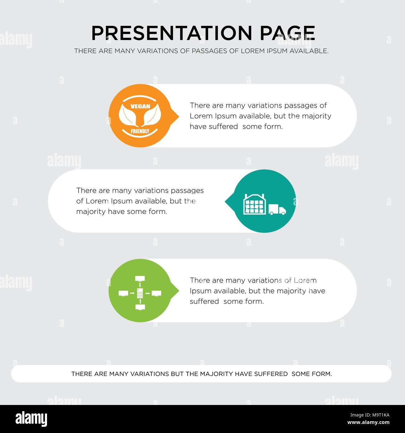 intranet, distribution center, vega presentation design template in orange, green, yellow colors with horizontal and rounded shapes - Stock Vector