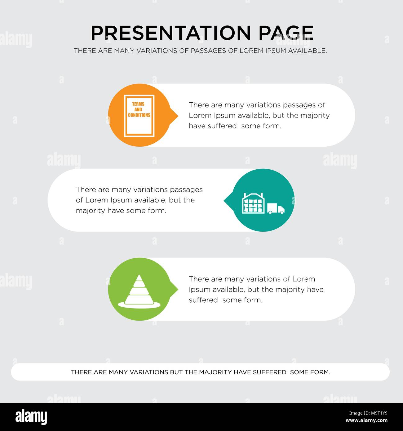 pylon, distribution center, terms and conditions presentation design template in orange, green, yellow colors with horizontal and rounded shapes - Stock Vector