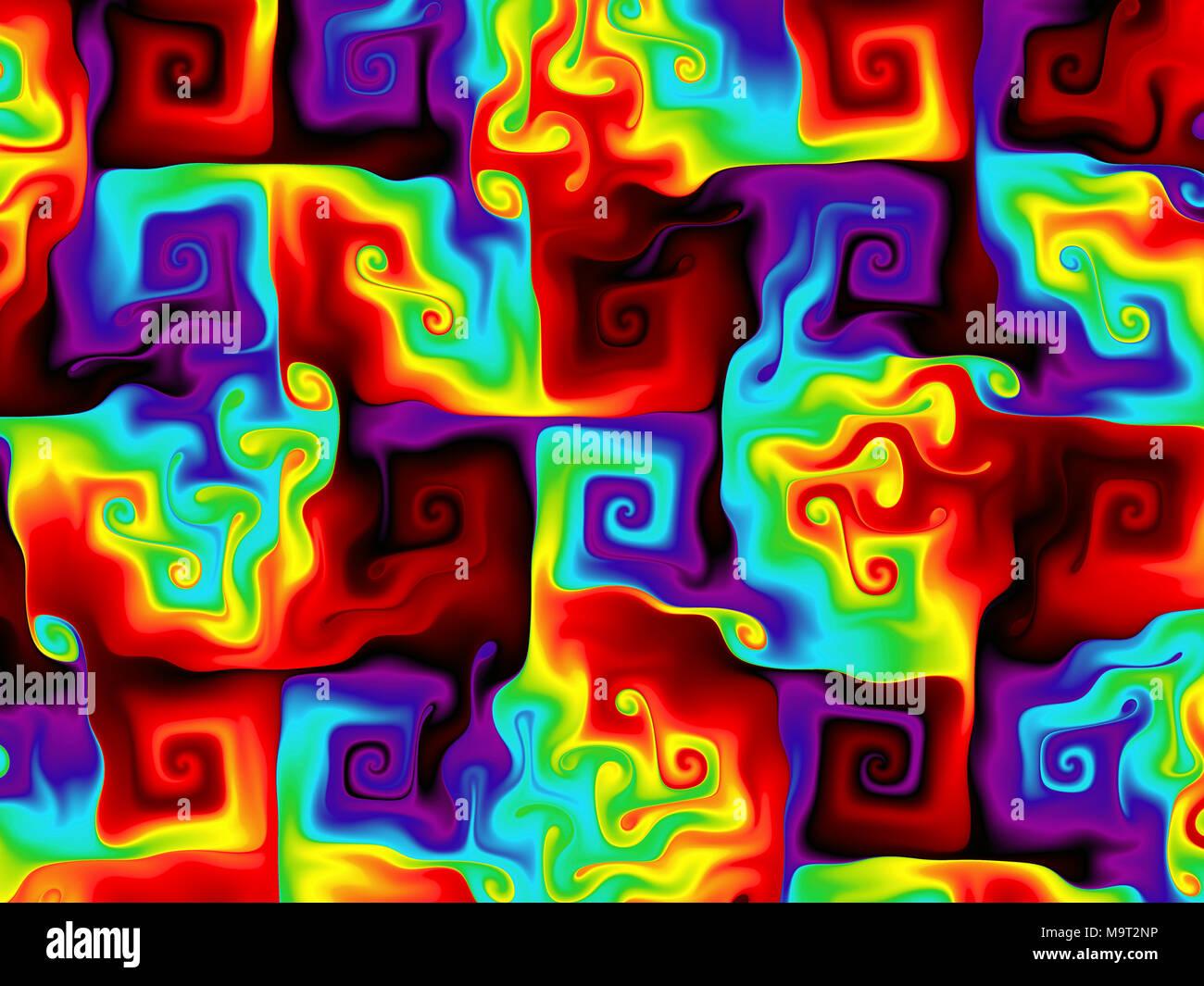 Rainbow Coloured Swirls - Stock Image
