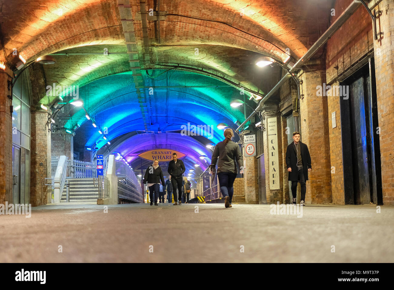The Dark Arches, Granary Wharf in Leeds, West Yorkshire, England. Stock Photo