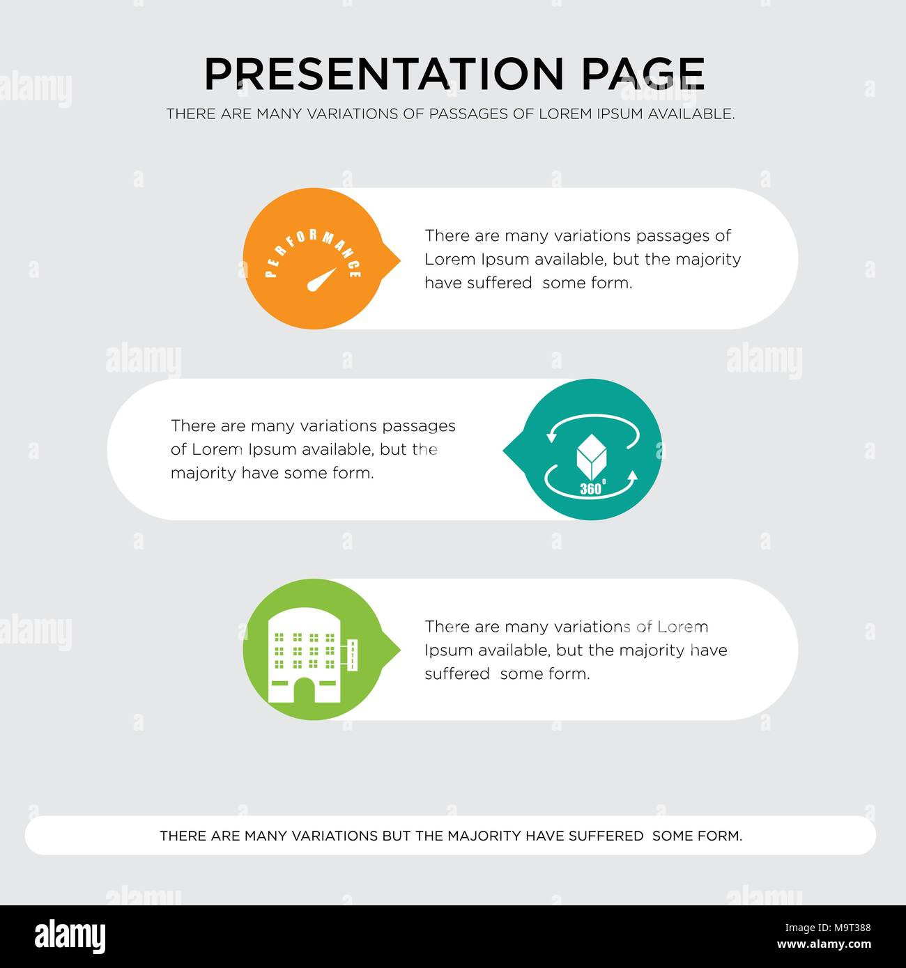 lodging, 360 image, high performance presentation design template in orange, green, yellow colors with horizontal and rounded shapes - Stock Vector