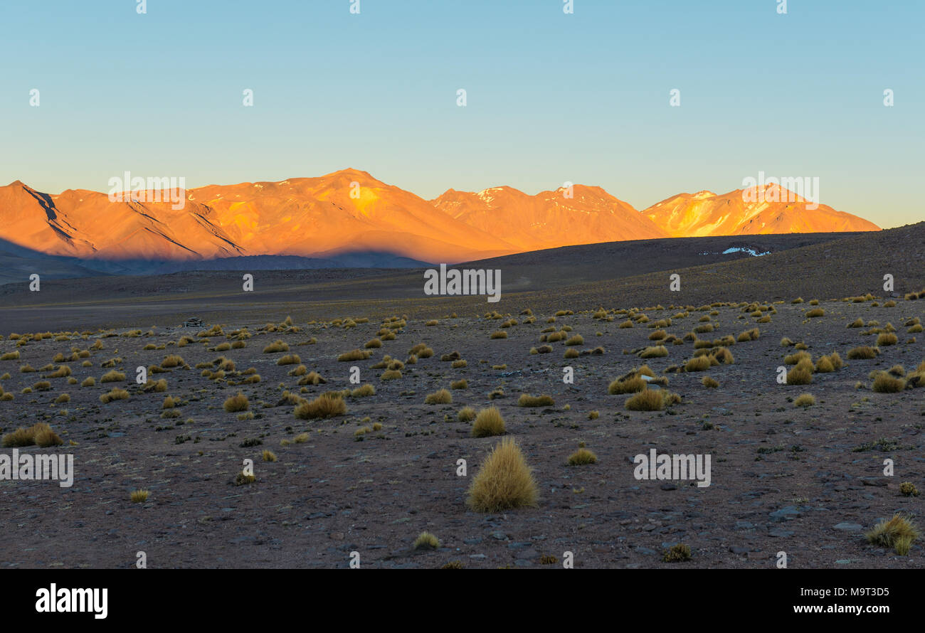 Sunrise in the altiplano of Bolivia in the Siloli desert at an altitude of 4600m near the border of Chile and the Atacama desert, South America. - Stock Image