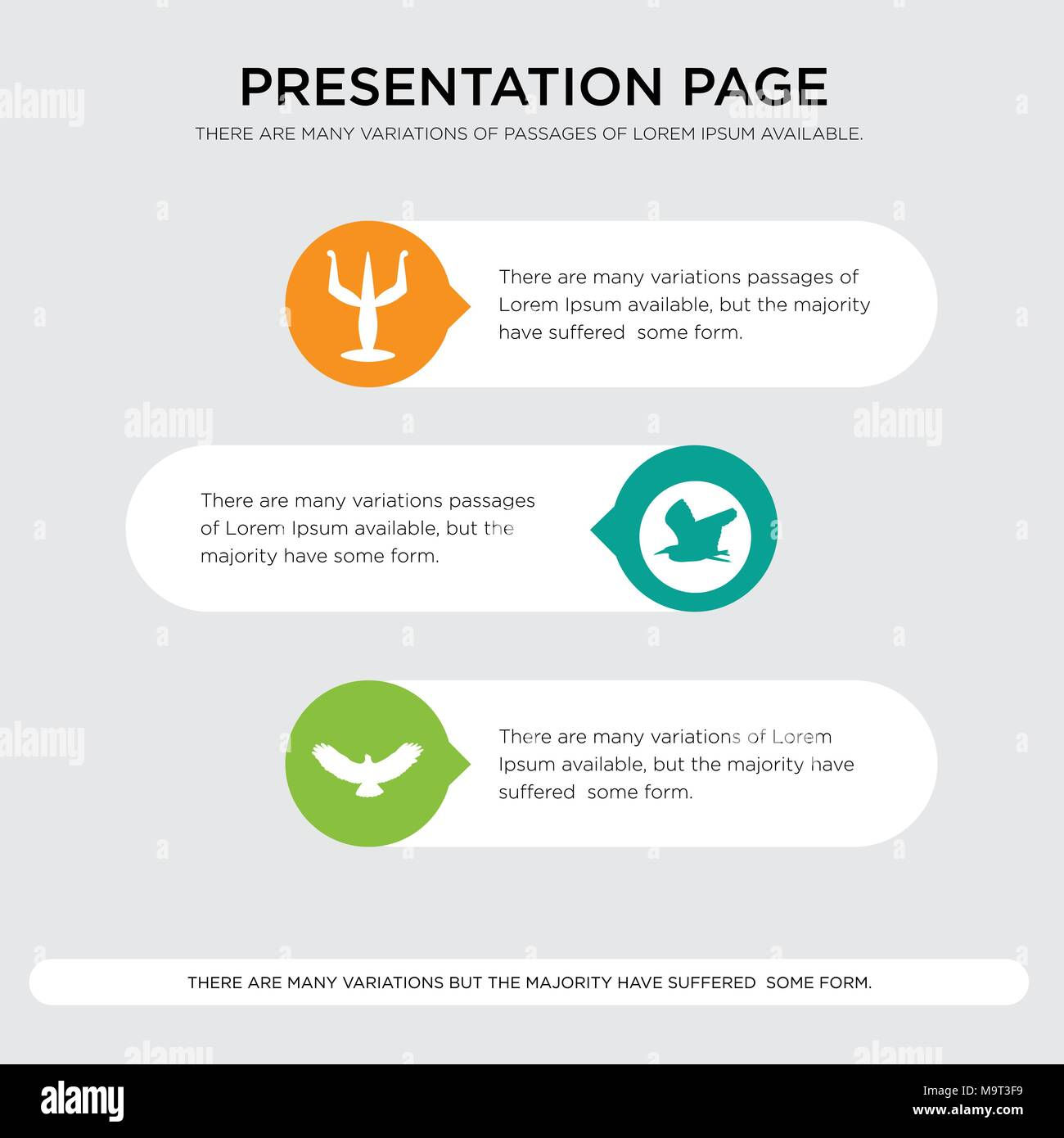 hawk, heron, psi presentation design template in orange, green, yellow colors with horizontal and rounded shapes - Stock Image