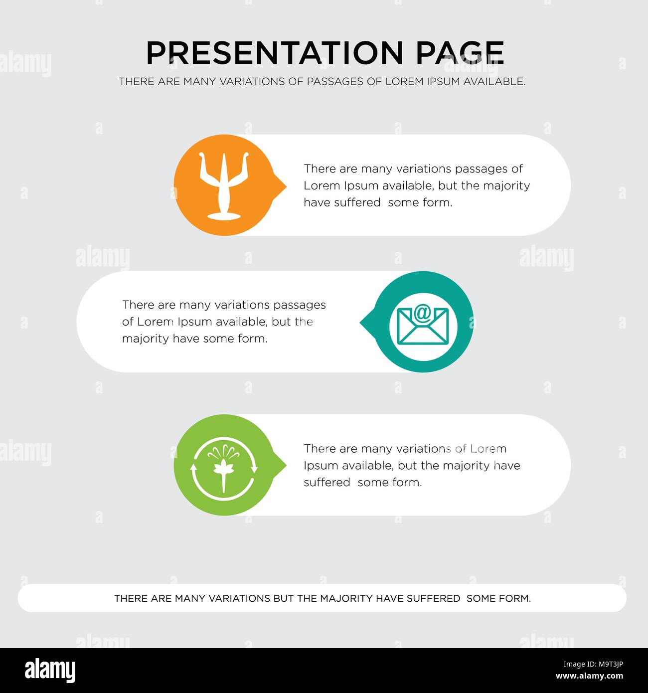 fresh air, email, psi presentation design template in orange, green, yellow colors with horizontal and rounded shapes - Stock Vector