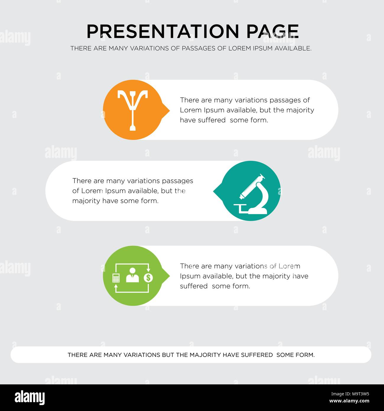 accountant, pathology, psi presentation design template in orange, green, yellow colors with horizontal and rounded shapes - Stock Image