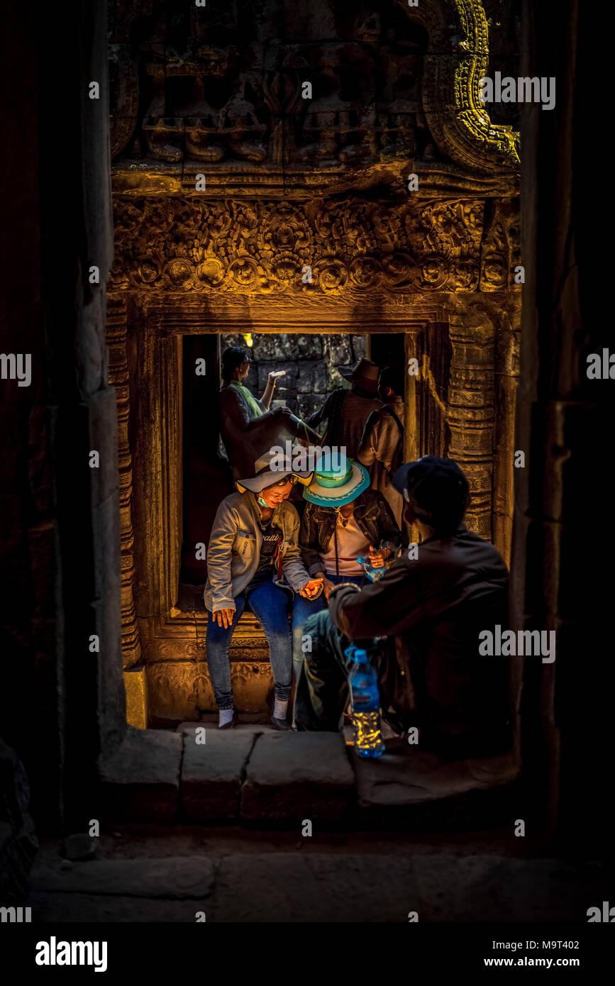 Asien, Kambodscha, Angkor Wat, Bayon - Stock Image
