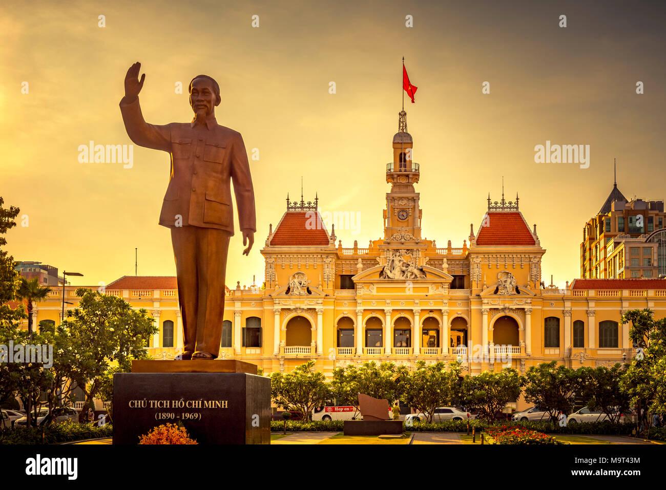 Asien, Südostasien, Südvietnam, Vietnam, Saigon, Ho Chi Minh Stadt, Rathaus - Stock Image