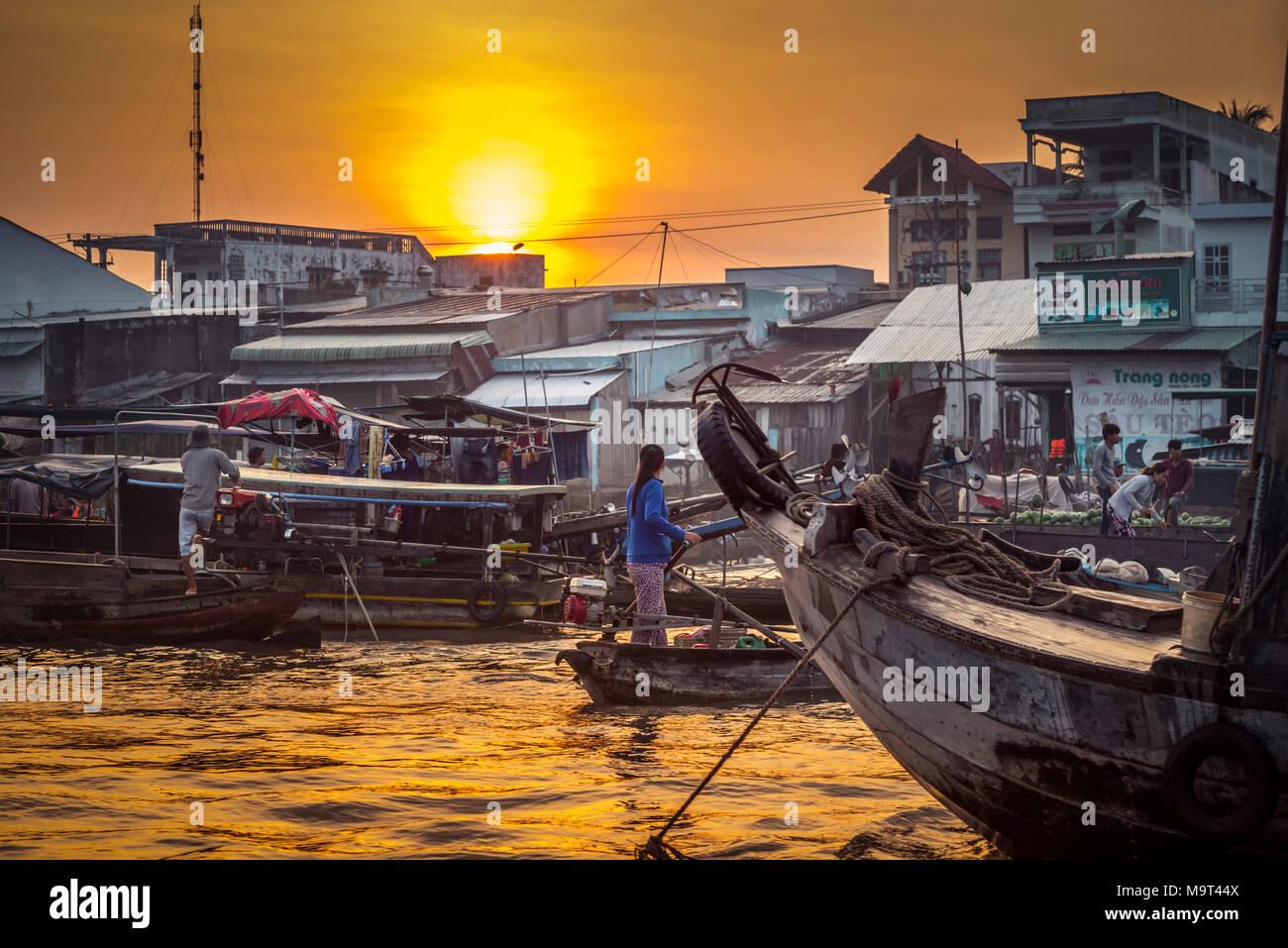Asien, Südostasien, Südvietnam, Vietnam, Mekong, Delta, Markt - Stock Image