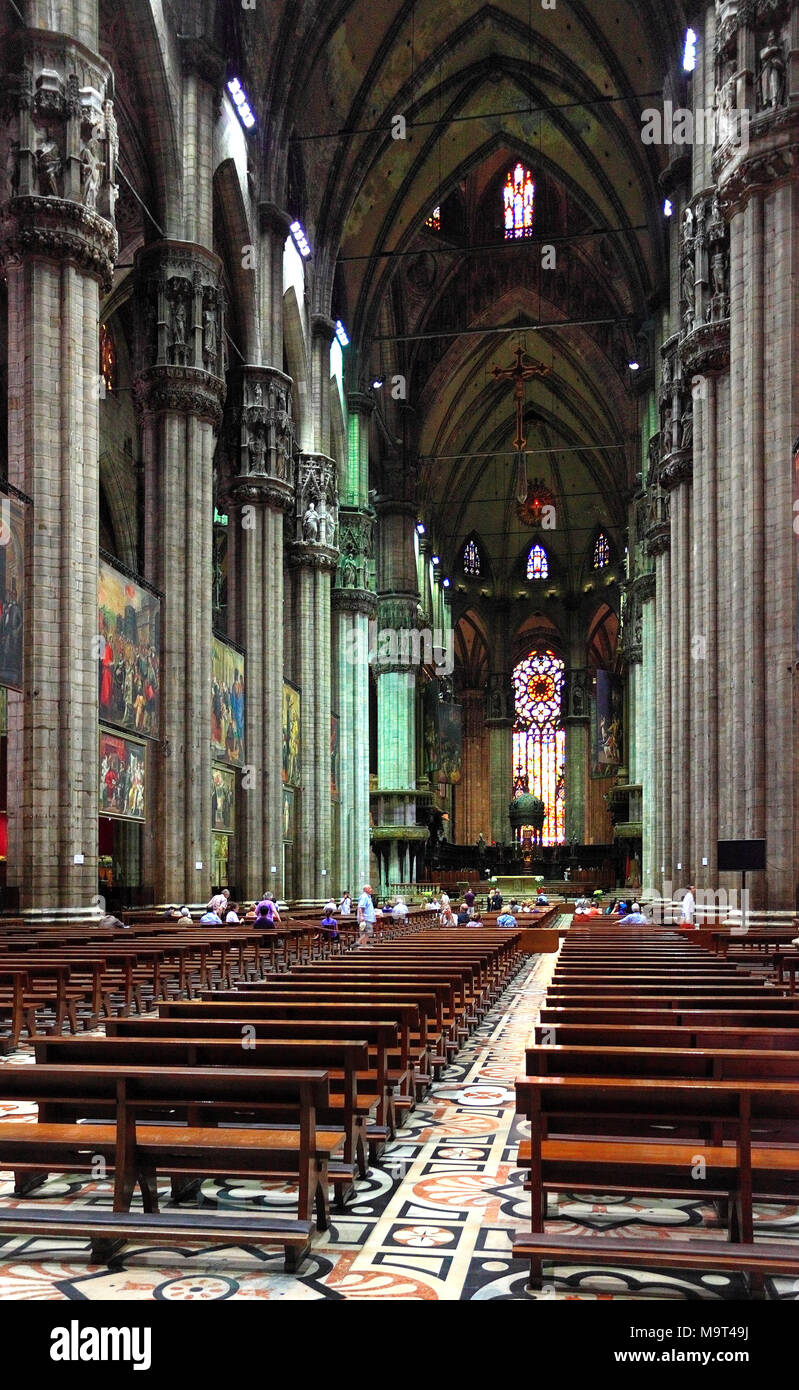 Milan, Lombardy / Italy - 2012/07/04: Intrior of Cathedral of St. Mary Nascente - Duomo Santa Maria Nascente di Milano at Piazza del Duomo - Cathedral - Stock Image