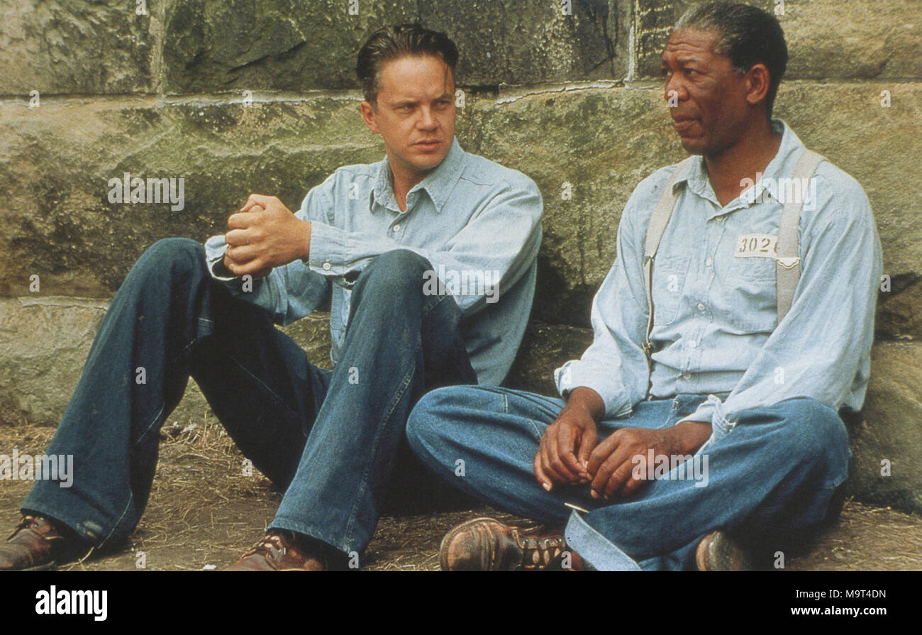 THE SHAWSHANK REDEMPTION 1994 Columbia Pictures film with Morgan Freeman at right and Tim Robbins - Stock Image