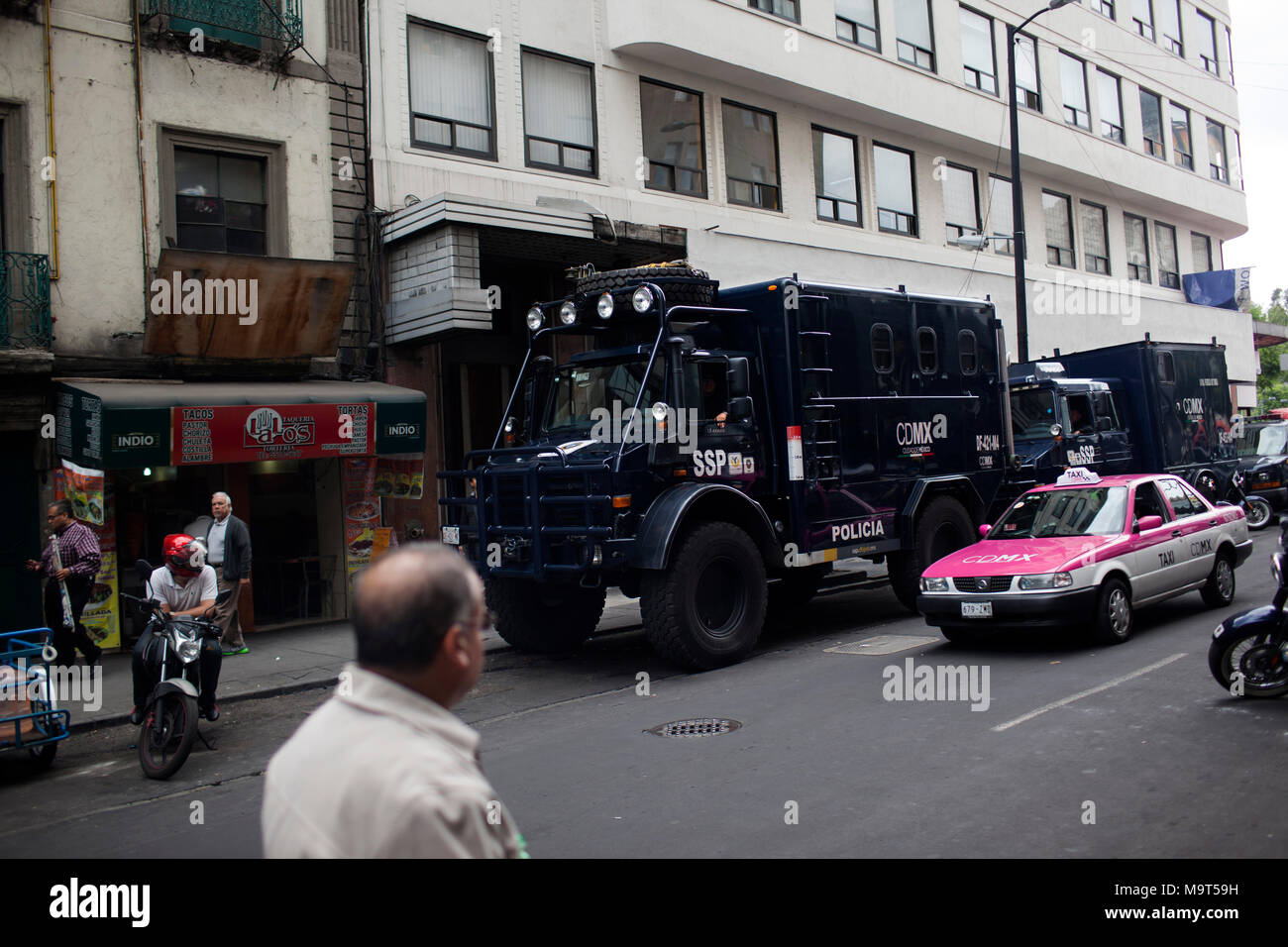 Mexican Police trucks parked on a side road prior to a protest in Mexico City, Mexico on Monday, June 1, 2015. Numerous protests have occurred prior to Mexico's midterm elections. - Stock Image