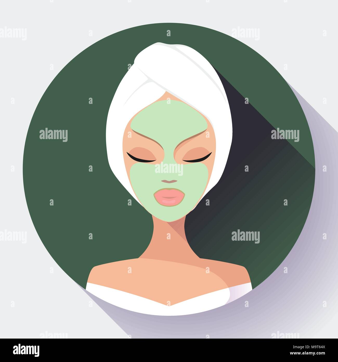 Spa Woman applying Facial cleansing Mask. Beauty Treatments - Stock Vector
