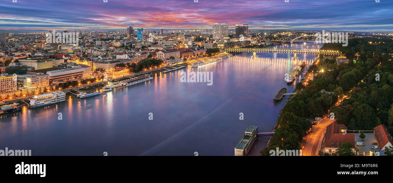b399cc70e High quality panorama of Bratislava, new bridge over Danube river with  evening lights in capital city of Slovakia,Bratislava