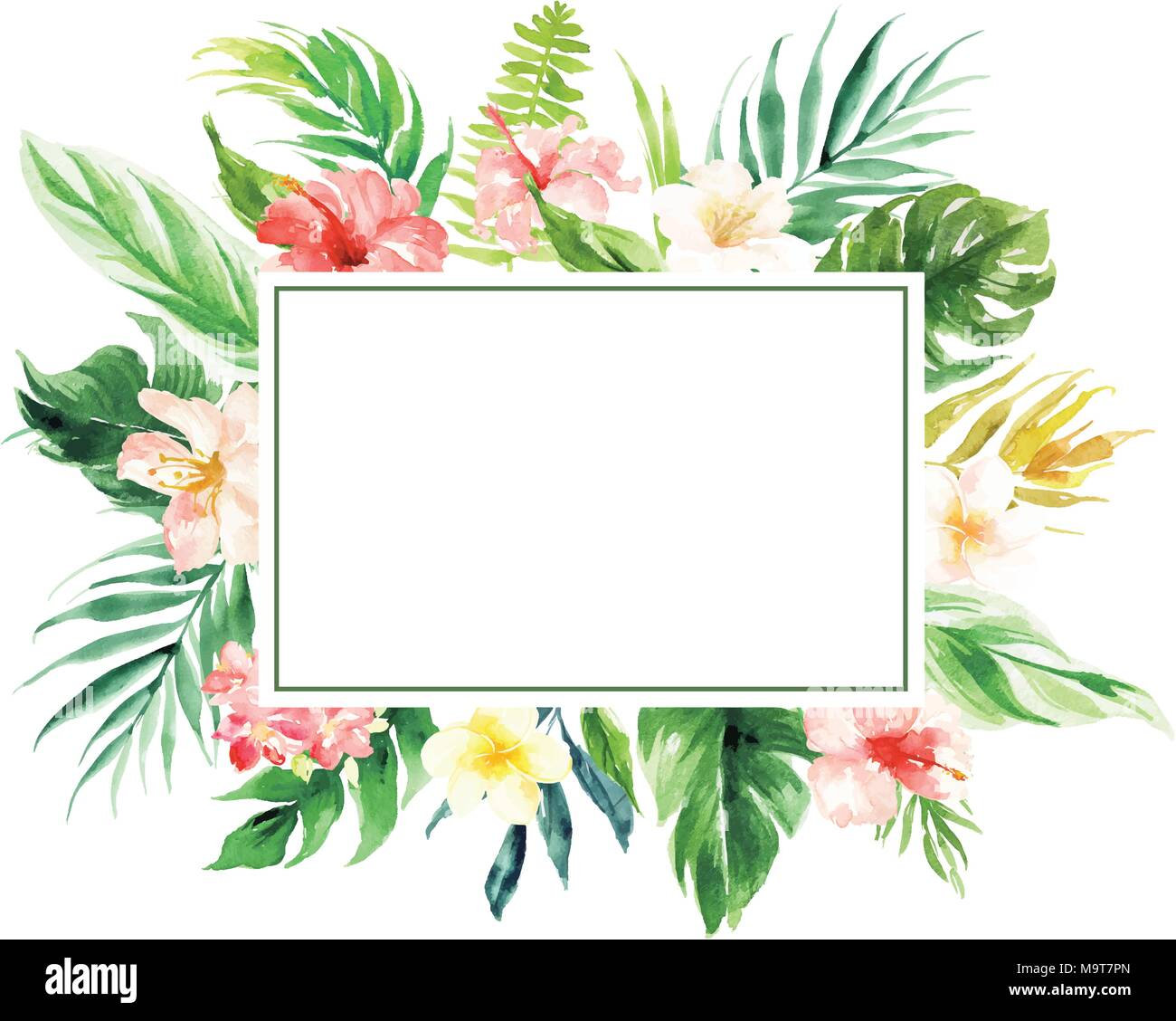 The isolated vector flower border with rectangle blank area wedding the isolated vector flower border with rectangle blank area wedding decoration card junglespirit Gallery