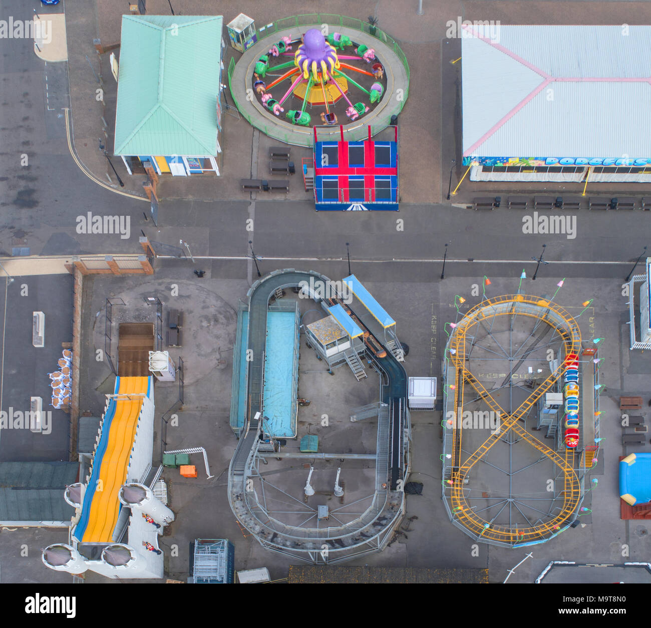 aerial view of the harbour park amusements at littlehampton by drone on the west sussex coast - Stock Image