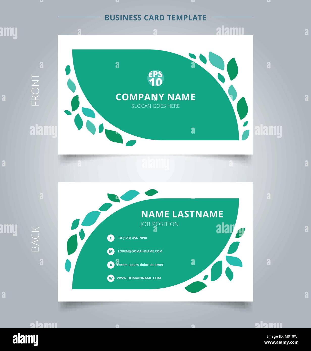 Creative Business Card And Name Card Template Graphic Green Leaves