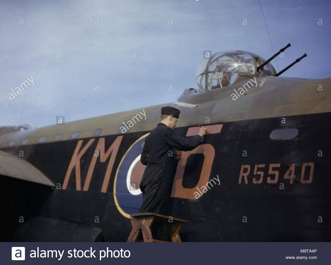 The Royal Air Force In Britain October  A Rigger Touches Up The