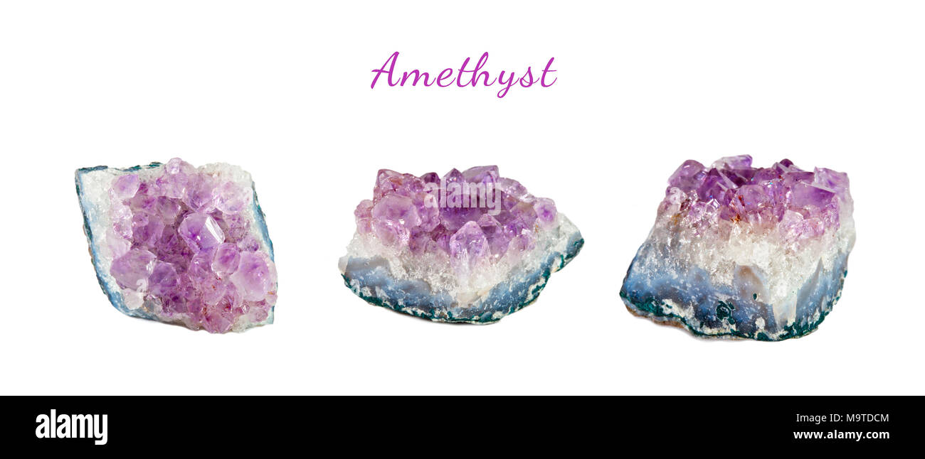 Macro shooting of natural gemstone. Mineral amethyst. Isolated object on a white background. - Stock Image